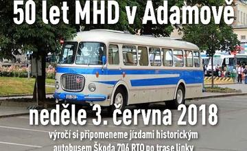 50 let Městské hromadné dopravy v Adamově historickým autobusem Škoda 706 RTO, r.v. 1966