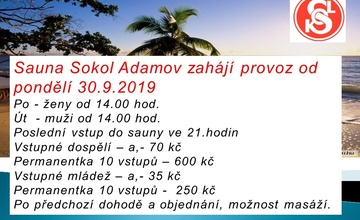 Zahájení provozu sauny TJ Sokol Adamov