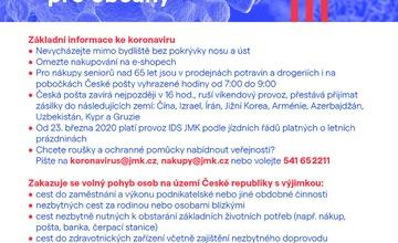 COVID-19 základní informace a doporučení ke dni 20.3.2020