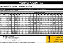 Změna jízdních řádů od 23. 3. - dočasné přerušení víkendového provozu MHD Adamov, tramvaje dle prázdnin, redukce vlaků R9