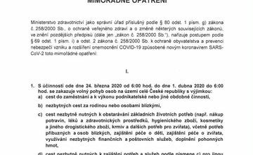 Mimořádné opatření - zákaz volného pohybu od 24.3.2020
