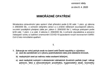 Mimořádné opatření - zákaz volného pohybu od 6.4.2020